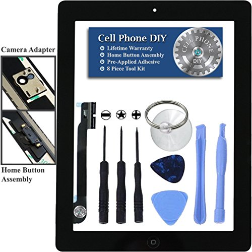 Black iPad 4 Digitizer Replacement Screen Front Touch Glass Assembly Replacement - Includes Home Button + Camera Holder + Pre-Installed Adhesive with Tools – Repair Kit by Cell Phone DIY