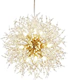 Qamra Modern Gold Crystal Chandeliers, Firework Dandelion Sputnik Chandelier Light Fixture Pendant Lighting for Dining Room, Bedroom, Bathroom, Kitchen, Living Room(9-Light, Gold)