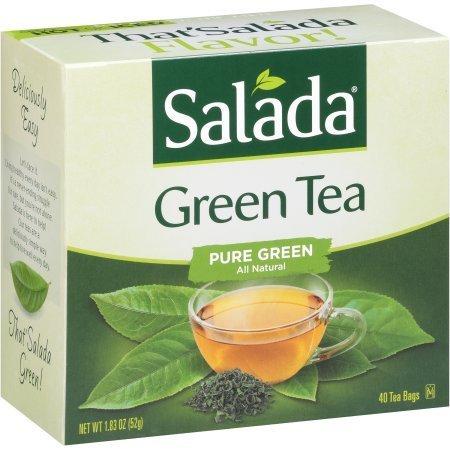 Salada Pure Green Tea Bags - 40 Count (Pack of 2 - 80 Total Bags)
