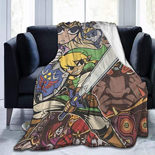 GOSMAO Batamanta Polar Suave y Acogedor Manta de Forro Polar a Cuadros de Cama y Sofa La Leyenda de Zelda 127X102 cm