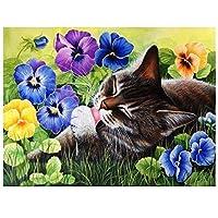 DIYペイント 数字 キャンバス油絵 猫の動物 DIY絵 デジタル油絵 -40x50cm (フレームレス)