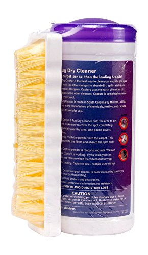 Capture Carpet Dry Cleaner Powder with Brush - Deodorize Clean Stains Smell Moisture from Rug Couch Wool and Fabric, Pet Stain Odor Smoke Too