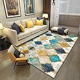 SXSHYUAR Confortable Tapis de décoration, Carpettes Tapis, Tapis Extra-Large Moderne Moutarde Ocre Jaune Argent de qualité...