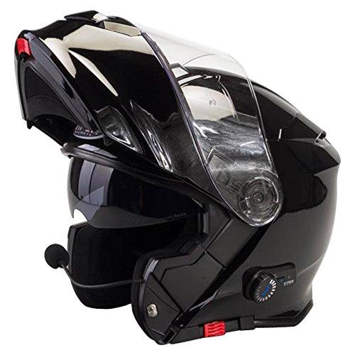 Viper RS-V171 Blinc Bluetooth + 3.0 Fullface Helm Klapphelm Motorrad Helm Roller mit Doppelvisier Motorradhelm Damen und Herren Integralhelm ACU Gold gestempelt Schwarz glänzend S (55-56cm)