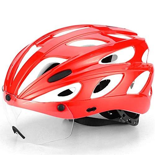 Pkfinrd Fahrradhelm mit Abnehmbarer Magnetbrille Sonnenblende BMX Mountainbike Mountainbike Helm Verstellbarer Fahrradhelm geeignet für Erwachsene Männer und Frauen@Weiß rot