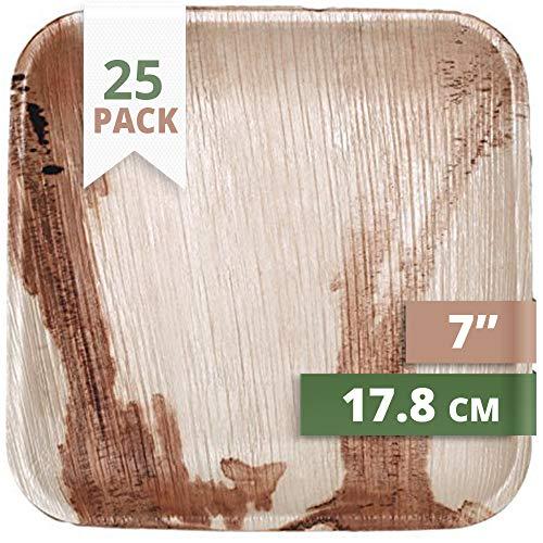 CaterEco 25 Kuh Palmblatt Einwegteller, 17 cms | kompostierbares Einweggeschirr für Hochzeit, Büro und Festen | Bio Einweggeschirr biologisch abbaubar Partygeschirr Einmalgeschirr Wegwerfgeschirr