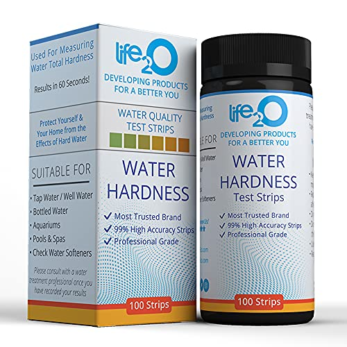 Water Total Hardness Test Strips 100ct   99% Accuracy Hard Water Testing Kit with 0–25 GPG Optimized Range   Calcium & Magnesium Tester for Water Softener, Aquarium, Pool, Spa, Drinking & Well Water