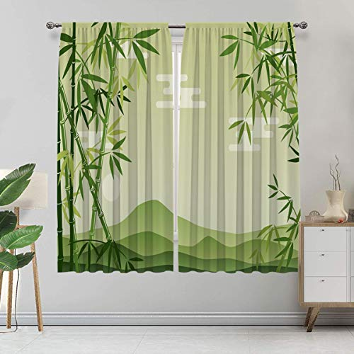 Green Leaf Blackout Curtains, Abstract Bamboo Trees in Japanese Forest Botanical Outdoors Window Curtain 2 Panels Set, Each Panel 27.5'W x 40'L Lime Green Pale Green
