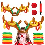 Tepoobea Christmas Party Game Inflatable Reindeer Antlers Ring Toss Game, 2 Sets Inflatable Reindeer Antler Ring Toss Game (2 Antlers 20 Rings and 2 Red Noses)