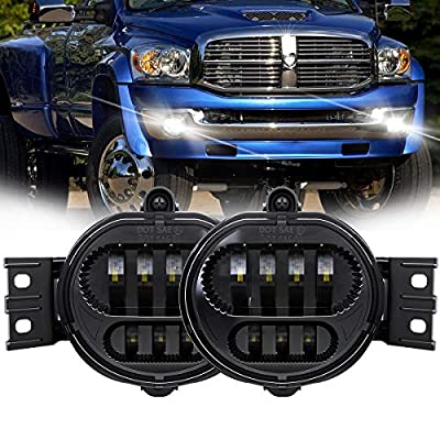 TRUCKMALL LED Fog Lights Projector Fog Lamp Replacement Driver and Passenger Side for Dodge Ram 1500 2500 3500 Pickup Truck 2002 2003 2004 2005 2006 2007 2008 2009- Black