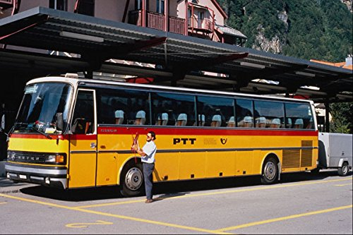 581098 Zwitserse Setra Post Bus Met Aanhangwagen Meiringen 1995 A4 Photo Poster Print 10x8