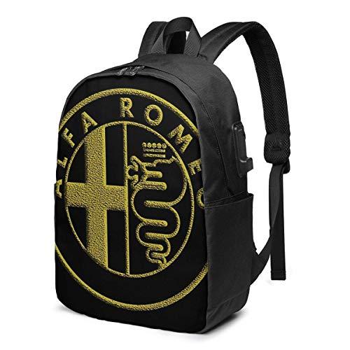 backpack Zaino Con porta di ricarica USB Zaino per laptop impermeabile casual elegante Borsa da viaggio ultraleggera Logo ALFA Romeo Gold
