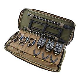 Hirisi Tackle Kit de pêche à la carpe, détecteurs de touche, swingers, pod, sac de transport