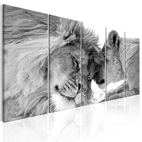 decomonkey Bilder Löwe 200x80 cm 5 Teilig Leinwandbilder Bild auf Leinwand Wandbild Kunstdruck Wanddeko Wand Wohnzimmer Wanddekoration Deko Tiere Afrika Katze schwarz weiß
