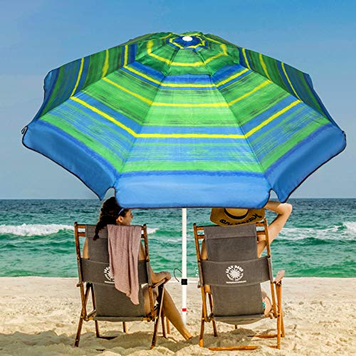 Ogrmar 7FT Beach Umbrella with Sand Anchor & Carry Bag, Outdoor Patio Windproof Sun Umbrella UV 50+ Protection & Push Button Tilt for Beach Patio Garden Outdoor (Green Stripe)