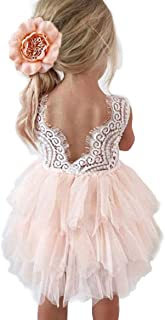 Topmaker Backless A-line Lace Back Flower Girl Dress