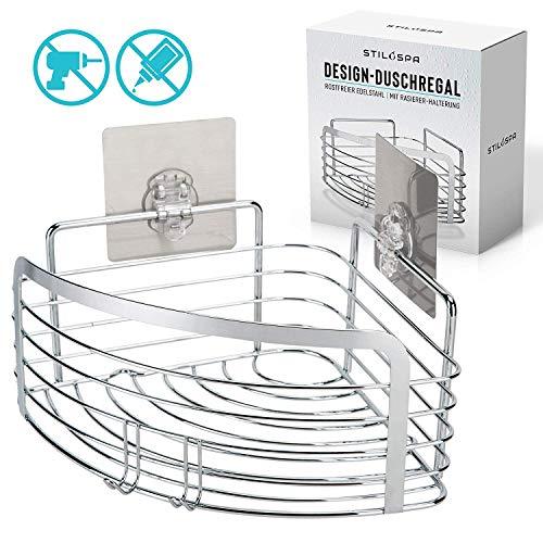 Stilospa® Duschregal ohne Bohren, Duschablage in Ecke mit Rasiererhalter, Edelstahl rostfrei