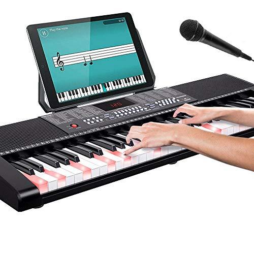 Bakaji Tastiera Musicale Pianola Elettronica 61 Tasti Luminosi Pianoforte Multifunzione Con 255 Ritmi 50 Brani Preimpostati Funzione Percussione Ingresso AUX Leggio Porta Spartito/Tablet E Microfono