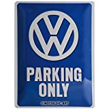 signs-unique VW Parking Only Placa Decorativa, Metal, Azul Indigo, 30 x 40 cm