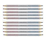Faber-Castell Jumbo Grip Bicolor - Lápiz para semillas, color rojo y azul, Rot/Blau, rojo y azul