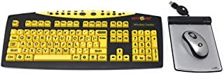 KeysUSee Large Print Yellow Keyboard Bundled with Key Connection Wireless Optical Mouse & USB Wired Magic Pad