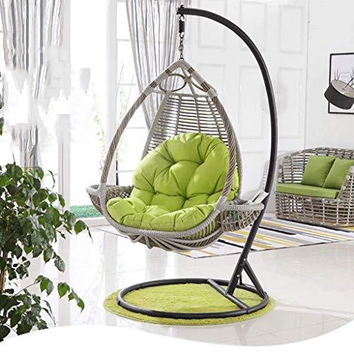 DZX Silla Hamaca con Forma de cojín para Muebles de Patio de jardín al Aire Libre/Interior, 90x120cm (Color: Verde) (Sin Silla)
