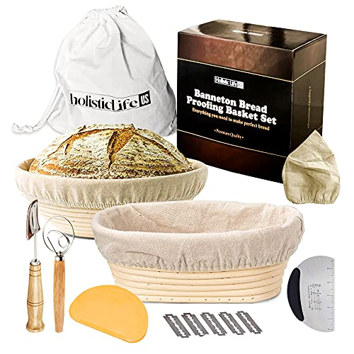 Holistic Life U.S. 10 Inch Round Banneton Proofing Basket and 10 Inch Oval Bread Basket - 2 Sourdough Proofing Baskets with Steel Dough Whisk + Bread Lame + Dough Scraper + Bag Liner - Gift for Bakers