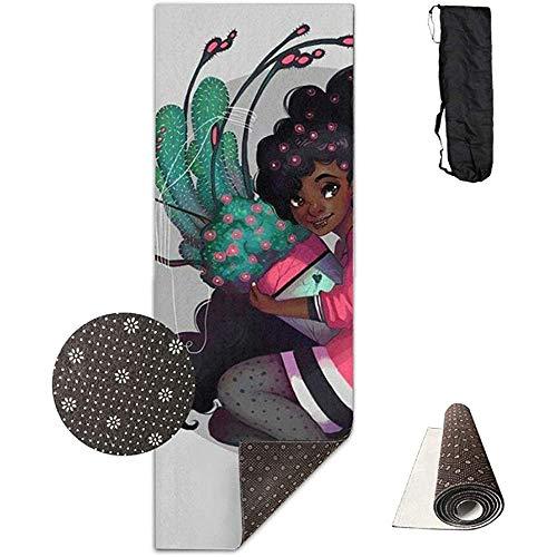 KDU Fashion Fitness Mat, zwarte kunst Afrikaanse cactus-bloempot bloem stijlvolle bedrukte fitness yogamatten voor thuis, fitness en fitness