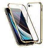 Funda Compatible iPhone 7/8/SE 2020, Carcasa Anti-Choques y Anti- Arañazos, Adsorción Magnética conchoques de Metal con 360 Grados Protección Case Cover Transparente Vidrio Templado Cubierta,Dorado