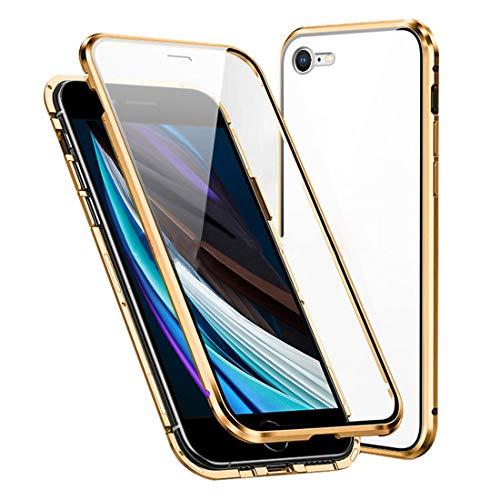 Cover per iPhone SE 2020/iPhone 7/iPhone 8 Magnetica Custodia,Davanti e Dietro Trasparente Vetro Temperato AntiGraffio + 360 Gradi Cornice Metallica Full Body Case,d'oro