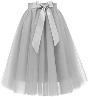 c5bf58b90 Bridesmay Women's Knee Length 5-Layered Tulle A-line Tutu Skirt Evening  Party Prom