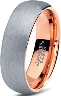 Tungsten Wedding Band Ring 7mm Men Women Comfort Fit 18k Rose Yellow Gold Plated Blue Black Grey Dome Brushed