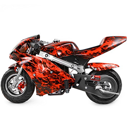 XtremepowerUS Gas Pocket Bike Motorcycle 40cc 4-Stroke Engine Mini Bike Ride-On Padded Seat EPA (Red Flame)
