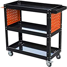 Flatbed truck Multi-Function Trolley Repair Tool cart with Side Plate Three-Layer Parts car with Double Brake Wheels DIY Tool Storage Weight 12kg