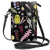 オーストラリアの植物の花(黒)バイヴィックアンドミー レディース、女の子用ショルダーストラップ付きクロスボディ財布携帯電話財布ミニショルダーバッグ