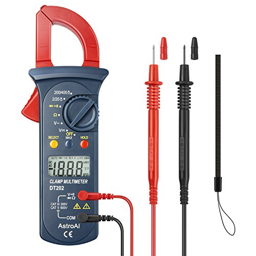 AstroAI Digital Clamp Meter, Multimeter Volt Meter with Auto Ranging; Measures Voltage Tester, AC Current, Resistance, Continuity; Tests Diodes, Red/Black (Renewed)