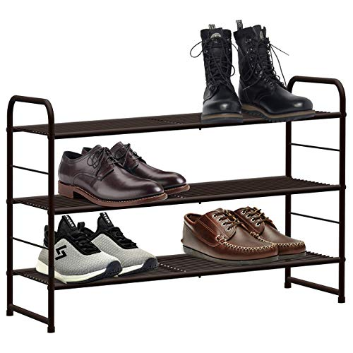 CAXXA 3-Tier Stackable and Expandable Metal Wire Utility Rack Storage For Shoe Household Accessory Organizer Shelf In Entryway Closet Bedroom Kitchen Garage, Bronze