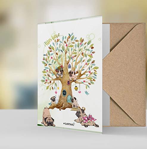 Geschenkkarte Grußkarte - Mops pug viel Spaß Familienbaum Alles liebe