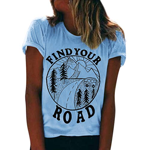 TWGONE Find Your Road Tshirt Women Summer Short Sleeve O Neck Print Tops Blouse(Light Blue,X-Large)