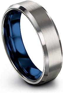 مجموعه رنگ Chroma تنگستن کاربید باند عروسی باند حلقه 6 میلی متر برای آقایان سبز مایل به قرمز آبی بنفش خاکستری مس فوسیا Tevel Bevel Edge برس
