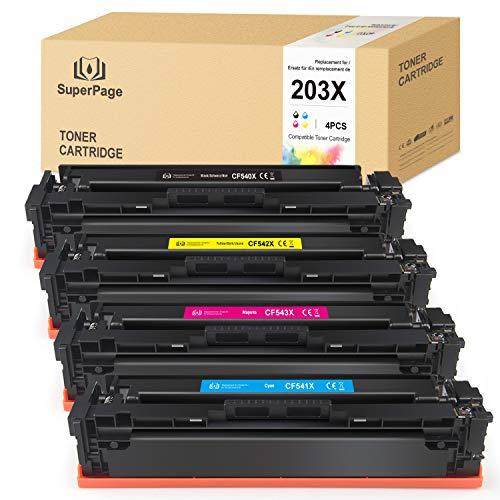 4 Superpage reemplazo para HP 203X CF540X CF541X CF542X CF543X Cartuchos de tóner para HP Color Laserjet M254 M254dw M254nw MFP M281 M281CDW M281FDN M281FDW M280 M280NW(Negro/Cian/Magenta/Amarillo)