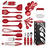 Cooking Utensils Set, 24 Silicone Kitchen Utensils, Non-Stick and Heat Resistant Kitchen Tools, Useful Cooking Gadgets (Red)