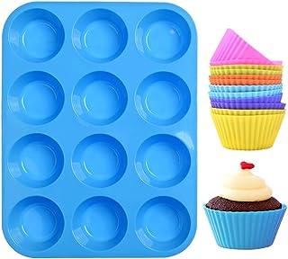 Moulle à muffin,moule silicone patisserie 12 cannelés mini cupcakes moules lot avec effet antiadhésif,réutilisables,pour s...