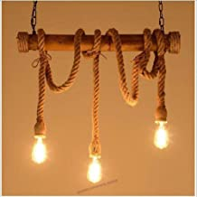 ZCdd PLJQ 3 Chandelier Pendant Novelty Rope, Head Chandelier, Vintage Mood, Hemp Rope and Bamboo Lights