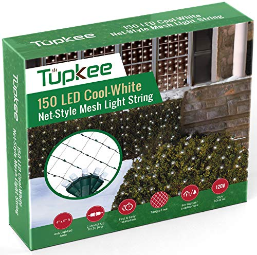 Tupkee Christmas Light Net – 150 LED Cool-White Mesh Lights - 4 ft x 6 ft – Outdoor / Indoor – Net Lights for Bushes, Hedges or Trees