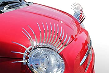 Carlashes Chrome Silver Car Eyelashes Special Edition Electroplated Mirror Finish Ladies Fashion Girly Car Accessory Diva Bling Miles of Smiles