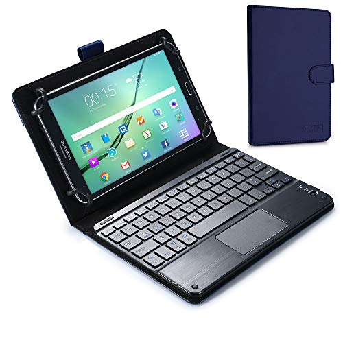 Cooper Touchpad Executive [Multi-Touch Mouse Keyboard] case for 8 to 8.9' Tablets | Android, Windows | Bluetooth, Soft Leather, 100hr Battery (Blue)