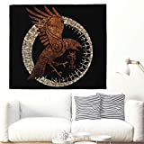 Festhad Ethnic Viking Raven Sun Totem Tapestry Keltic Crow Circle of Scandinavian Runes Tattoo Wall Hanging Tribal Birds Norse Mythology Wall Tapestry Hippie Wall Decor Wall Blanket 150x130cm