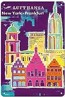ルフトハンザニューヨークフランクフルトティンサイン装飾ヴィンテージ壁金属プラークレトロアイアン絵画カフェバー映画ギフト結婚式誕生日警告