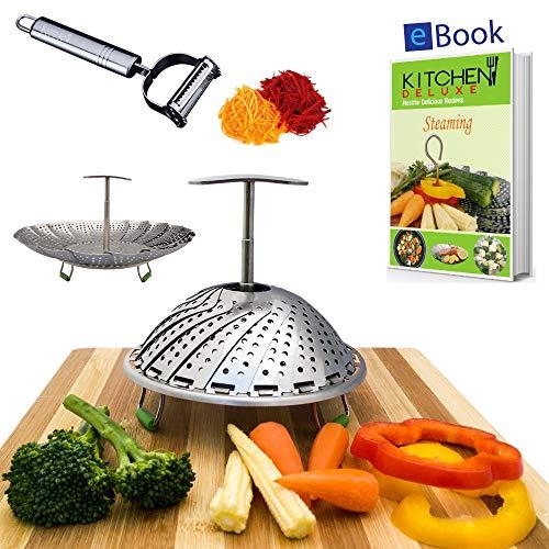 Kitchen Deluxe Veggie Steamer Basket - Large - Fits Instant Pot Pressure Cooker 3, 5, 6 Qt & 8...